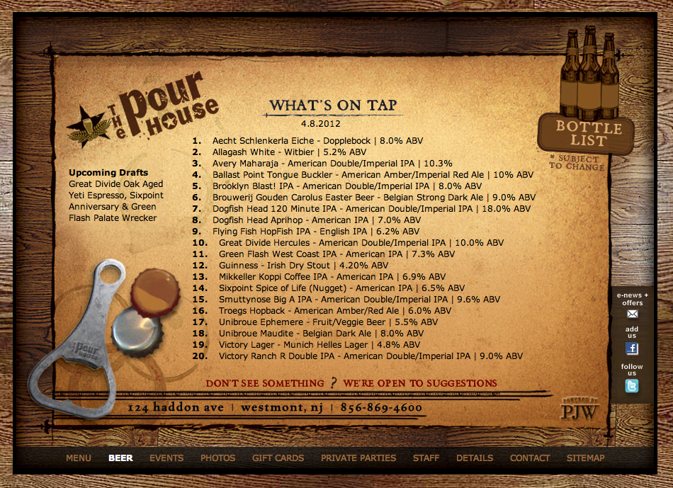 The Easter Draught Beer List at The Pourhouse in Westmont, NJ