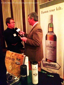 Simon Brooking and Mark Gillespie having a chat for the next episode of WhiskyCast.