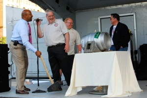 Mayor Michael Nutter, Don Russell (aka Joe Sixpack), and Tom Kehoe of Yard Brewing