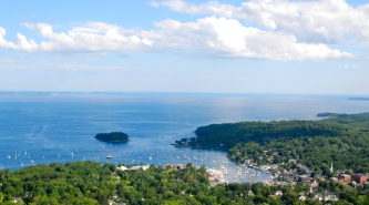 A view of Camden Harbor from the top of Mt. Battie