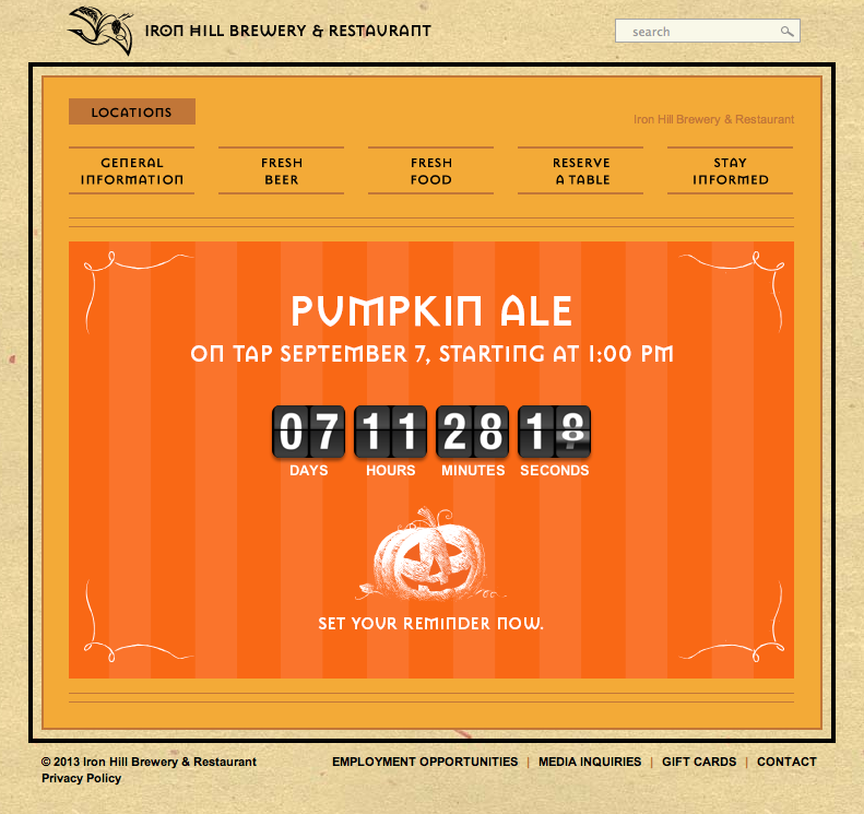 Iron Hill Pumpkin Ale Countdown