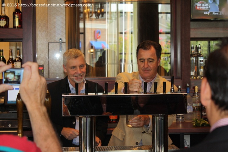 Kevin Finn, CEO & President, Iron Hill Brewery & Restaurant and Michael R. Mignogna, Mayor of Voorhees, NJ at the handles
