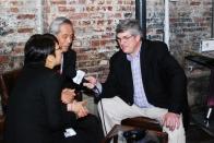 Mark Gillespie interviewing Seiichi Kosjimizu, Chief Blender for Suntory Inc