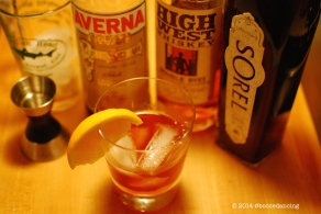 Rye, Averna, and Sorel Cocktail