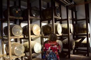 Mom inspecting the ex-bourbon casks