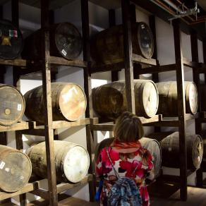Mom inspecting the ex-bourbon casks