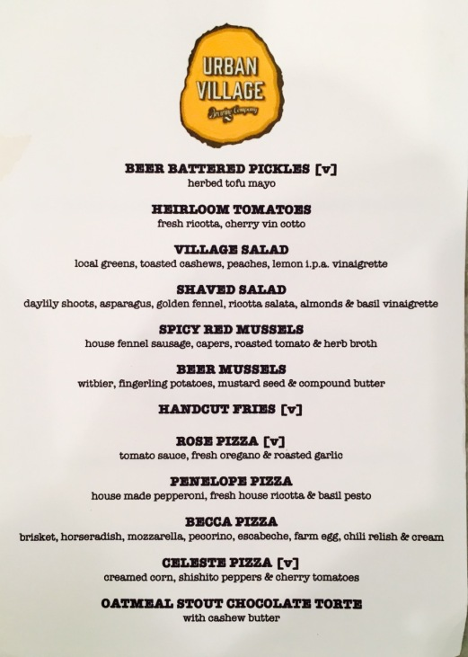 Urban Village Brewing Co Menu
