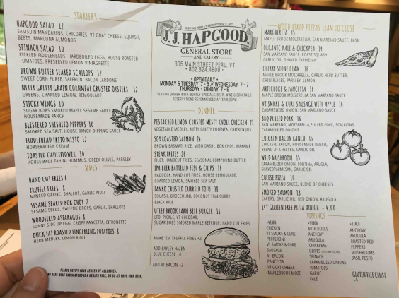 JJ Hapgood Menu - 1