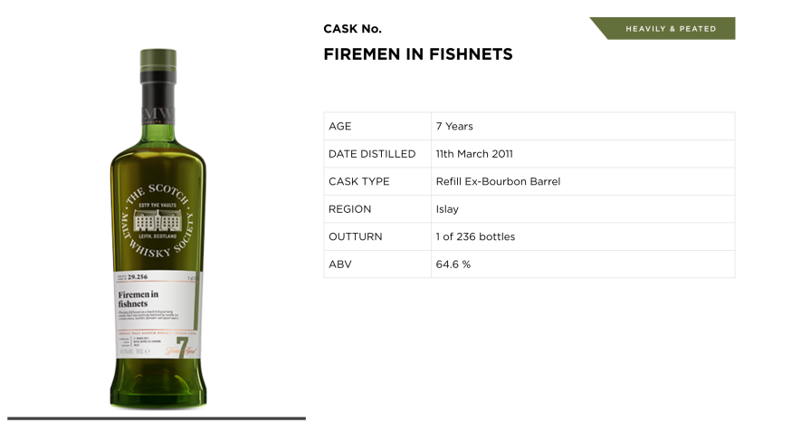 SMWS Cask No. 29.256, Firemen in Fishnets